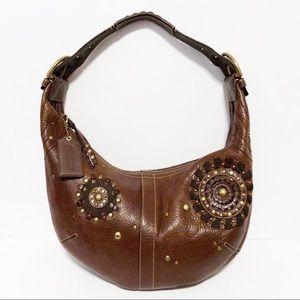 Coach MIA Brown Pebbled Leather Large Hobo Handbag
